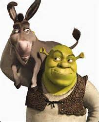 Shrek with his donkey (the movie Shrek)