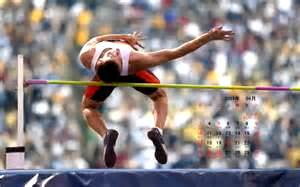 an athlete in a high-jump event