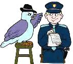 (an artist's idea of a policeman getting information from his informer, a stool pigeon